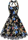 oten Women's Vintage Halter Dress 1950s Floral Sping Retro Rockabilly Cocktail S