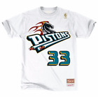 Mitchell & Ness White NBA Detroit Pistons #33 Grant Hill Name and Number T-Shirt
