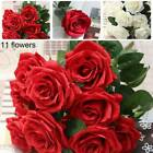 11heads Rose Artificial Flowers Fake Bouquet Buch Wedding Home Party Decor