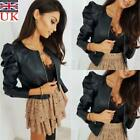 'Womens Pu Leather Puff Sleeve Coat Ladies Cropped Jacket Blazer Bomber Tops Uk