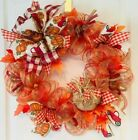 Handmade Fall, Thanksgiving Mesh Wreaths
