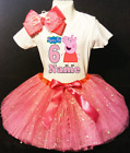 Peppa Pig Dress --With NAME-- 6sixth 6th Birthday Tutu Outfit Pink Fuchsia Shirt