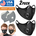2PCS Activated Carbon Air Purifying Face Mask Cycling Reusable Filter Haze Valve