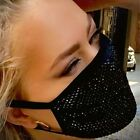 Reusable Fancy Going Out Fashion Face Mask With Sequin Bling Glitter Rhinestones