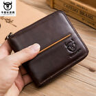 RFID BULLCAPTAIN Men's Cow Genuine Leather Zipper Around Card Slots Money Wallet