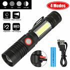 Rechargebale Tactical 5000LM T6 LED COB Flashlight Zoom Magnet Torch Waterproof