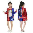 Halloween Kids/Girl Costume Suicide Squad Harley Quinn Cosplay Party Fancy Dress
