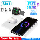 3in1 10W Qi Wireless Fast Charging Dock Charger Stand For iPhone iWatch Samsung