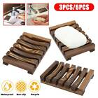 3/6 Wooden Bamboo Soap Dish Tray Storage Case Holder Container for Bathroom Sink