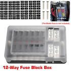 12/6-Circuit Universal Blade Fuse Block Box Holder LED Cover Durable Protection