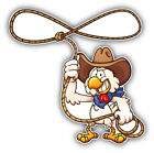 "Cowboy Chicken Cartoon Car Bumper Sticker Decal - ""sizes"""