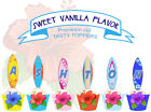 custom name Surf Board Beach Birthday Party EDIBLE wafer Cupcake Topper cup cake