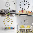 Modern DIY Large Wall Clock 3D Roman Number Mirror Style Home Office Room Decor