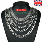 """Mens Curb Chain 18"""" - 26"""" 4MM 6MM 8MM 9MM Stainless Silver Plated Cuban Necklace"""