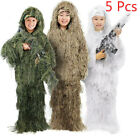Adult Ghillie Suit 3D Camo Woodland Outdoor Camouflage Jungle Hunting 5pcs Set
