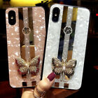 For iPhone 12 11 Pro Max XS XR 6 7 8 Glitter Marble Butterfly Diamond Case Cover