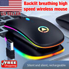 LED Wireless Optical Mouse USB Rechargeable RGB Cordless Mice For PC Laptop