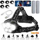 USB Rechargeable 80000LM T6 LED Headlamp Waterproof Head Torch Light Flashlight