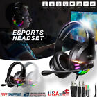 RGB Light Gaming Headset 7.1Surround Sound Stereo USB Headphones Noise Canceling