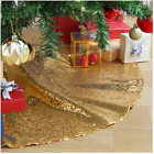 Christmas Tree Skirt🎅48 Inch Gold Sequin  Sparkly Tree Skirt Outdoor Christmas