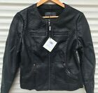 'Womens Ladies Black Leather Jacket Faux Look Fashion Coat Sizes S,m,l,xl
