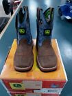 John Deere JD1317 Toddler/Kids Boots Pull-on Blue with Stitching