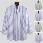 Men Long Sleeve Striped V Neck Henley Shirts Casual Loose Beach Holiday Tops Tee