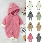 Toddler Baby Girls Boys Winter Warm Knit Outwear Sweater Hooded Romper Jumpsuit