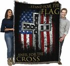 Stand for The Flag Kneel for The Cross Religious Patriotic Blanket Throw Woven f