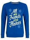 Sweater All My Friends Are Flakes Royal Christmas Jumper Women's Blue