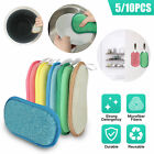 5/10PCS Dual Microfiber Dish Scrub Sponges Cleaning Kitchen Bathroom Household