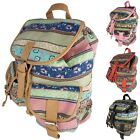 Ladies Backpack Cloth Canvas Retro Vintage Colourful Ethno Style 7021