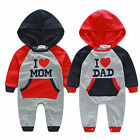 Newborn Baby Boys Girls Clothes I LOVE DAD/MOM Hooded Romper Playsuits Outfits