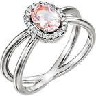 Sterling Silver Morganite and Diamond Halo Double Band Ring
