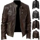 Mens PU Leather Stand Collar Long Sleeves Motorcycle Jacket Warm Windbreaker