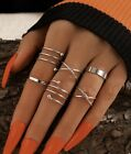 6pcs Fashion Silver Adjustable Rings Set Women Accessories Ring Gift