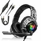 RGB LED 3.5mm Gaming Headset Stereo Surround Sound Noise Reduction Mic Headphone