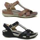 Ladies Wedge Sandals Women Summer Walking Cushioned Comfort Slip On Strappy Shoe