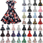 Ladies 50s 60s Rockabilly Hepburn Sleeveless Floral Evening Swing Skater Dress