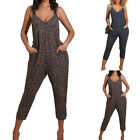 Women Sleeveless V Neck Jumpsuits Summer Leopard Playsuit Pocket Wide Leg Romper
