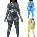 Women Tie Dye Long Sleeve Playsuit Ladies Summer Casual Zipper Jumpsuit Pants