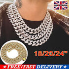 Mens Iced Out Diamond Thick Miami Cuban Link Chain Necklace Hip Hop Jewelry UK