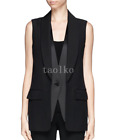 Womens Sleeveless Vest Waistcoat One Button Blazers OL Mid Long Coat Summer Size