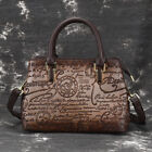 Women  s Genuine Leather Vintage Handbags Shoulder Bag Embossed Text Tote Purse