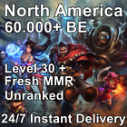 Na   League Of Legends   Unranked Smurf Account   Lvl 30   60,000+ Be