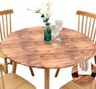Vinyl Tablecloth Round Fitted Elastic Flannel Brown Barn Wood Grain 36-56 Inches