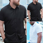 Men's Short Sleeve Casual Blouse Muscle Slim Fit Gym Collared Tops Shirts Tees