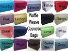 Large Cotton Waffle Cosmetic Bag with PVC Liner