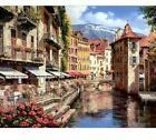 Paint By Numbers Adults kids Waterside Town DIY Painting Kit 40x50CM Canvas