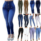 Women Stretchy Skinny High Waist Denim Jeans Summer Jeggings Slim Pants Trousers